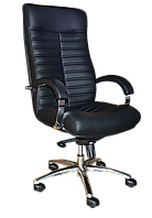 [ Кресло Orion D-5 + Подарок ] Офисное кресло с хромированными подлокотниками экологическая кожа черный
