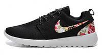 Женские кроссовки Nike Roshe Run Print, черные с цветами, найк роше ран