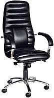 [ Кресло  Orix D-5 + Подарок ] Офисное кресло с хромированными подлокотниками экологическая кожа черный