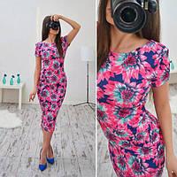 Платье летнее трикотажное миди в цветочный узор разные расцветки SMB187