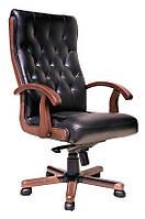 [ Кресло Richard EXTRA LE-A 1.031 + Подарок ] Офисное кресло из натурального дерева нат. кожа Люкс черный