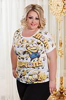 Женская батальная футболка дг р2909 №1, фото 1