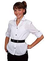 Блузка детская для девочек школьная м 808  рост 122  и 128 белая, фото 1