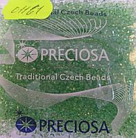 Бисер 10/0, №01161, цвет прозрачно - зеленый, (уп.50 грамм)