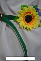Пояс лаковый с искусственными цветами, фото 1