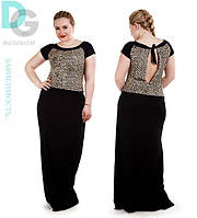 """Летнее платье в пол больших размеров """"леопардовая вставка"""""""