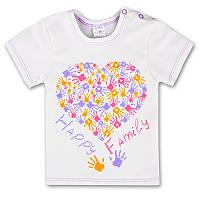 Детская футболка для девочки р. 104 ткань КУЛИР-ПИНЬЕ 100% тонкий хлопок ТМ ПаМаМа 3086 Бежевый