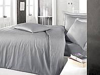 Постельное белье Sateen Strip семейный (ТМ CLASY) серый, Турция