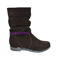 Ботинки коричневые замшевые на меху