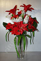 Искусственный букет из лилии, астры, мелкоцвета и бутона № 429