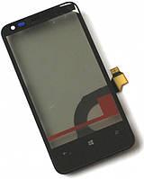 Сенсор (тач скрин) NOKIA Lumia 620 с рамкой (оригинал)