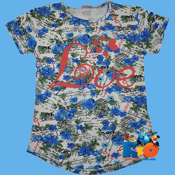 """Летняя детская футболка """"Love"""" , из трикотажа , для девочек от 9-12 лет"""