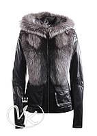 Зимняя кожаная куртка с чернобуркой, фото 1
