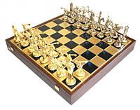 """Шахматы латунные Manopoulos"""" в деревянном футляре, синие SK17BLU"""