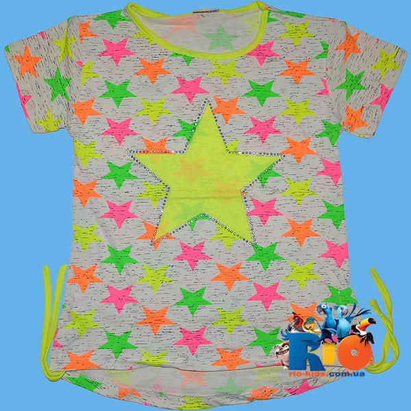"""Летняя футболка """"Star"""" , из трикотажа , для девочки от 5-8 лет"""