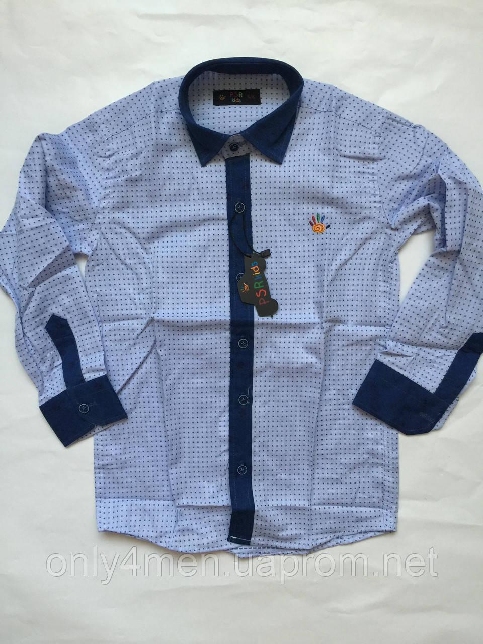 Рубашка с джинс отделкой для мальчиков 5-16 лет