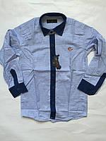 Рубашка с джинс отделкой для мальчиков 5-6 лет