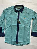 Рубашка бирюза с джинсовой отделкой на мальчика 5-16 лет