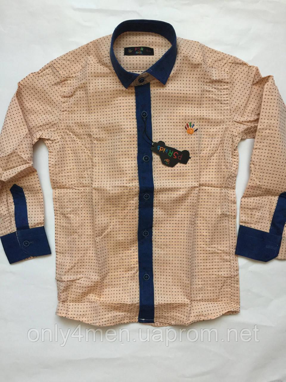 Рубашка персик с джинсовой отделкой, для мальчиков 5-16