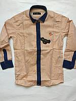 Рубашка персик с джинсовой отделкой, для мальчиков 5-6