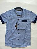 Рубашка с коротким рукавом в клетку для мальчиков 5-16 лет, фото 4