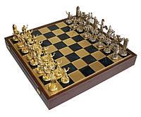 """Шахматы Manopoulos"""", латунь, в деревянном футляре, синие, 54х54см"""