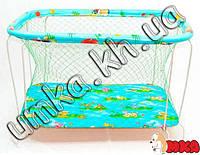 Детский манеж Kinderbox Голубой Звери на поляне с крупной сеткой
