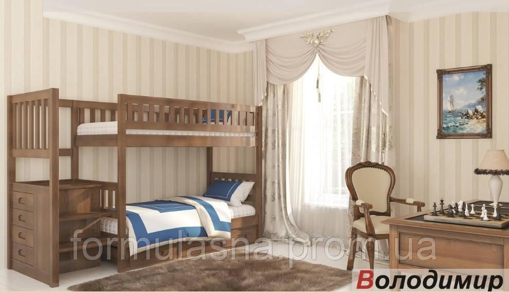 Двухъярусная кровать Владимир с лестницей-комодом