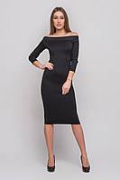 Платье прямое облегающее до колен черного цвета