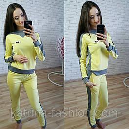 Женский желтый спортивный костюм трикотажный: кофта и штаны