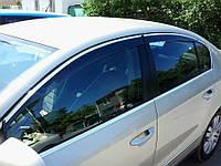 Дефлекторы окон (ветровики) Volkswagen Passat B6/B7 2006-2014  Sedan Хром молдинг