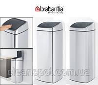 Корзина металлическая матовая с крышкой Brabantia Touch Bin, фото 4