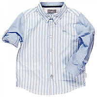 Школьная форма рубашка комбинация тонких и широких полос, рукав-трансформер мал. голубая 100% хлопок 731258 BO