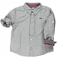 Рубашка для мальчика меланжевый хлопок, декоративная планка в виде галстука мал. серая 100% хлопок 731270 BO