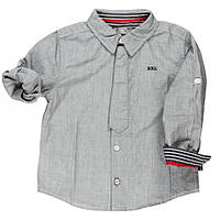 Школьная форма рубашка меланжевый хлопок, декоративная планка в виде галстука мал. серая 100% хлопок 731270 BO