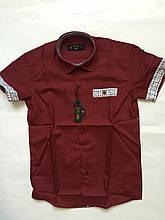 Рубашка с коротким рукавом,клетка для мальчиков 5-16 лет
