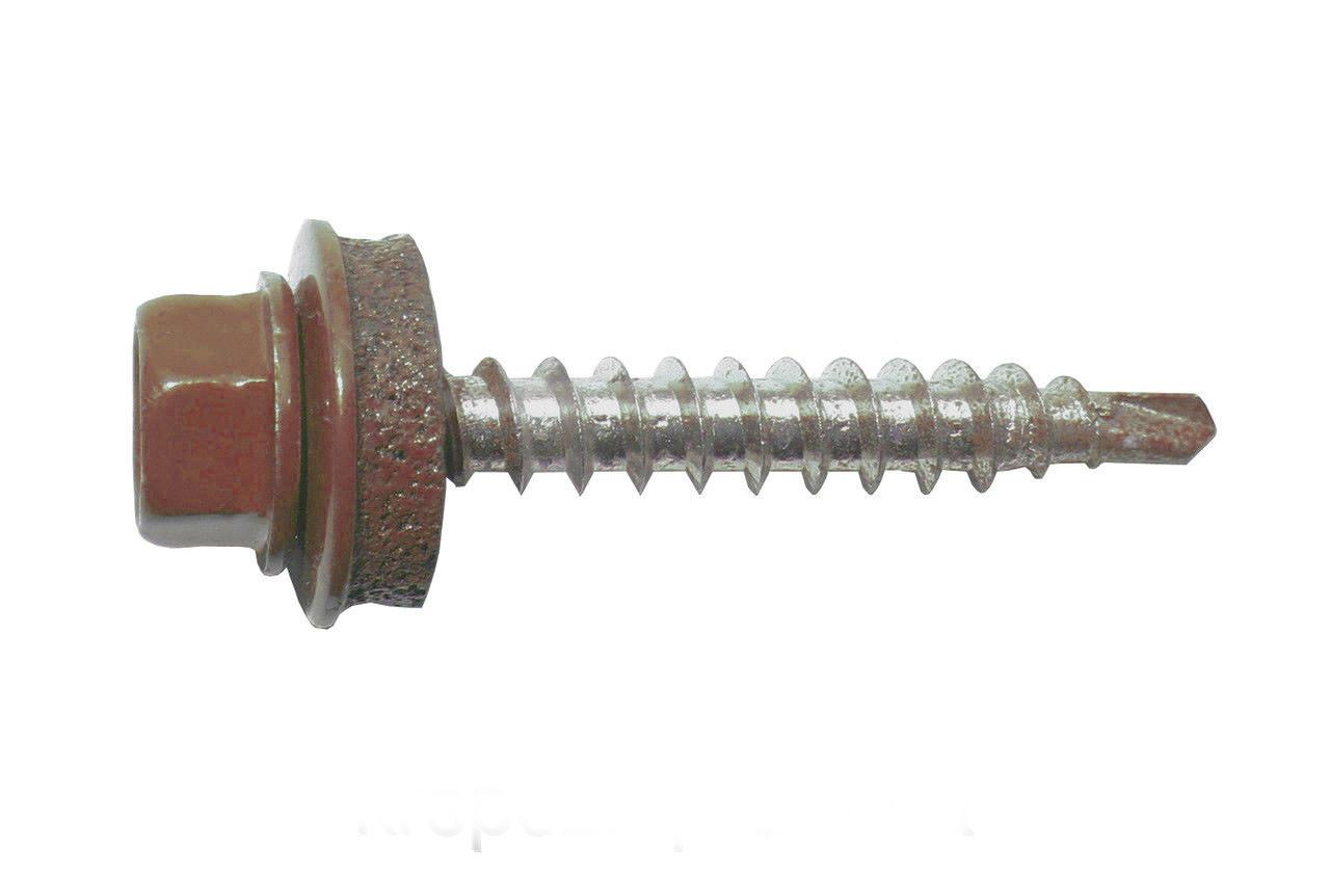 Саморез кровельный по металу 5,5х25 RAL 8004 (медно-коричневый).(упаковка 250 шт.)