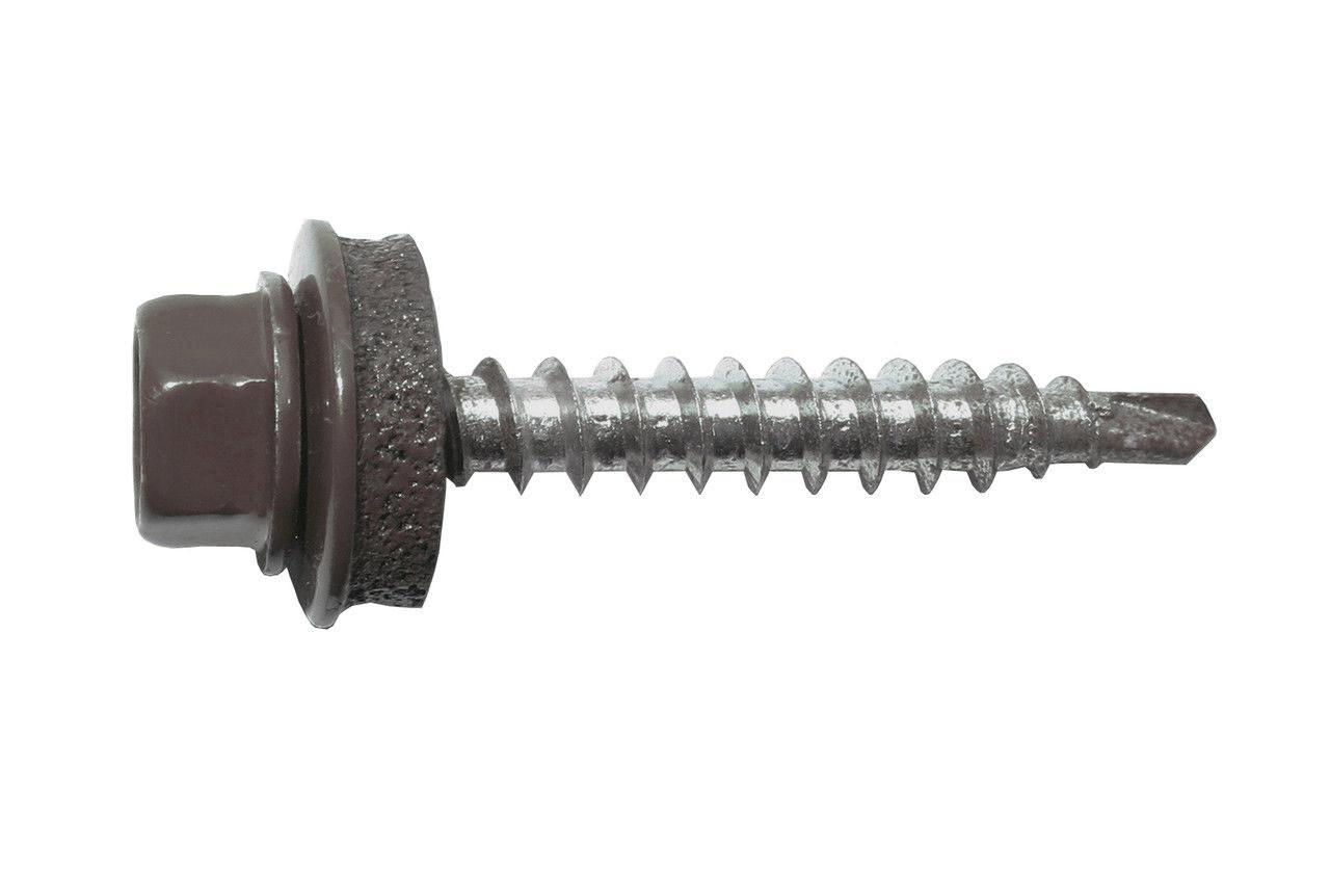 Саморез кровельный по металу 5,5х25 RAL 8017 (шоколадно-коричневый). (упаковка 250 шт.)