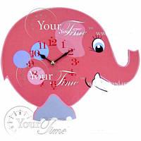 Часы настенные Слон розовый детские МДФ 33,5 * 4,5 * 27,5см
