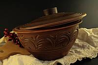 Супница из красной глины, декор