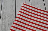 Лоскут ткани №136 бязь с крупной красной полоской, фото 2