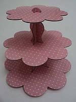 Стойка для капкейков картонная Розовый горошек