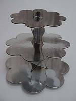 Стойка для капкейков картонная Серебро