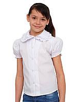 Блузка детская для девочек школьная М-946  рост 126-146 белая, нарядная, фото 1