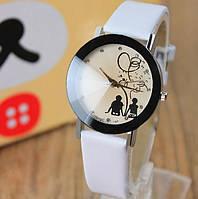 Наручные кварцевые часы с белым ремешком код 188
