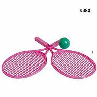 Теннисный набор ракетка большая с мягким поролоновым мячиком