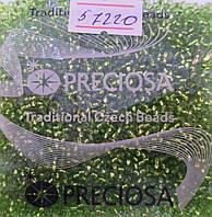 Бисер 10/0, цвет - жёлто-оливковый с внутренней окраской, №57220 (уп.50 грамм)