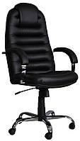 [ Кресло Tunis P Steel Chrome D-5 + Подарок ] Офисное кресло с хромированными подлокотниками эко кожа черный