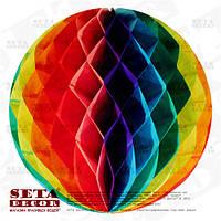 Разноцветный шар-соты из бумаги тишью для декора d=30 см.