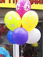 Букет-фонтан из 7-ми шариков с циферкой на День рождения